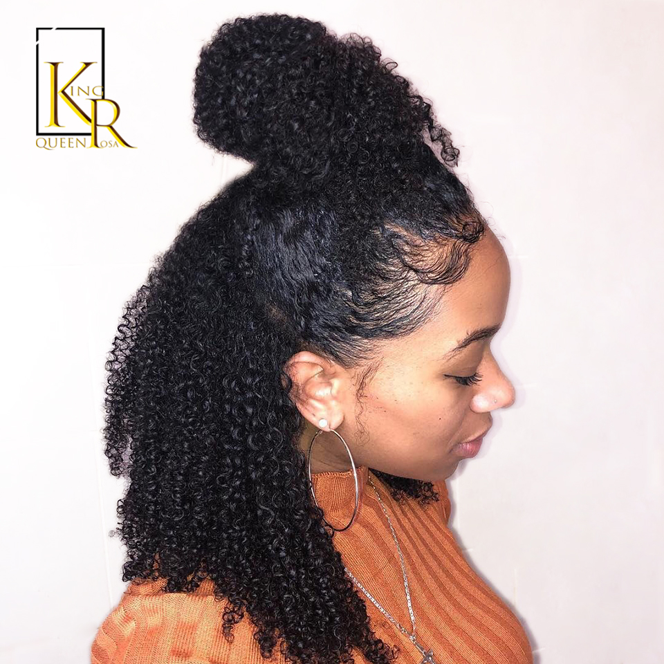 Lace Front Human Hair Wigs Afro Kinky Curly Wigs Pre Plucked 13*4 Lace Brazilian Wig Remy Hair Bleached Knots Baby Hair VS BOB