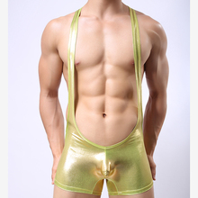 2017 Fashion Brand Flashy Faux Leather Conjoined Men Sexy Penis Pouch Boxers Underwear Gay Male Suspenders Shorts Underwear