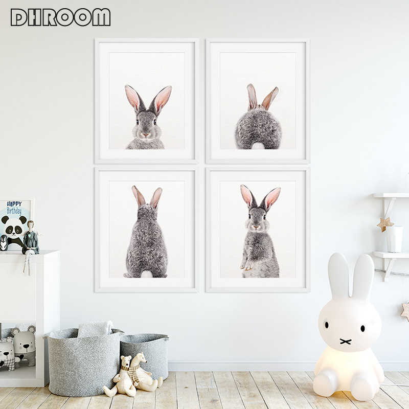 Woodland Animals Rabbit Nursery Wall Art Bunny Butt Canvas Poster Print Nordic Decoration Wall Pictures Baby Kids Room Decor