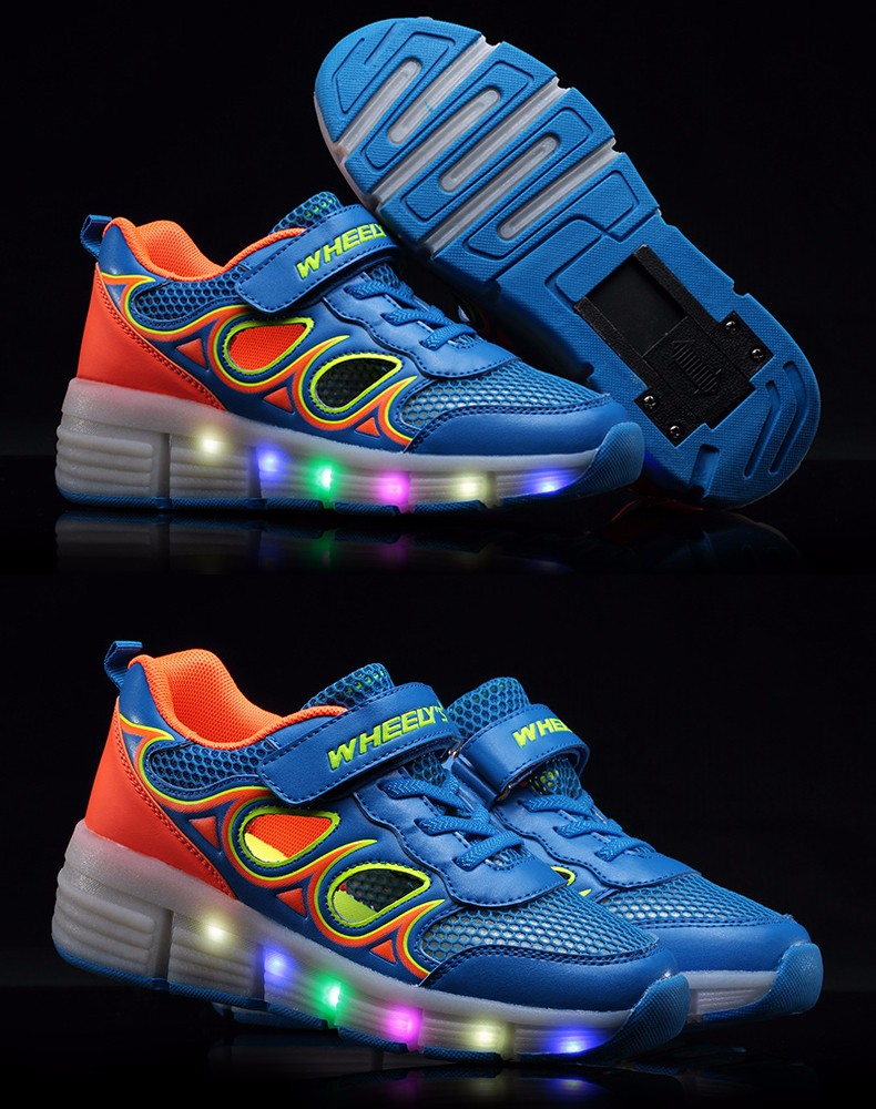 High Quality Cheap Boys Glowing Sneakers With Wheels Kids Light Up Shoes Girls Roller Skates tenis de rodinha tenis led2