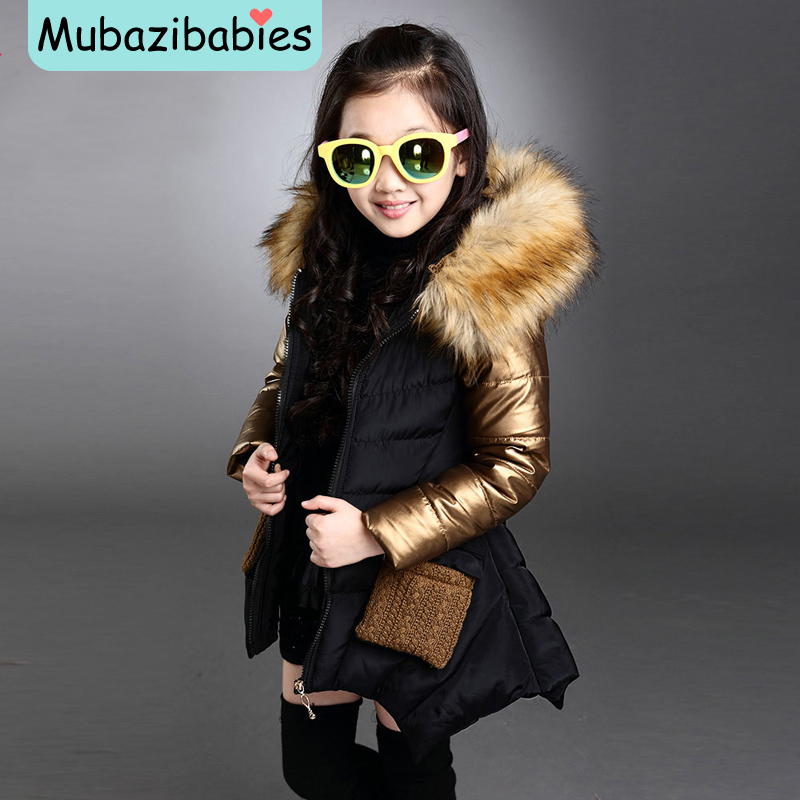 Toddler Girl Winter Coat Baby Girl Warm Coat Padded Child Thicken Fur collar Leisure Cotton-padded parkas Coats цена