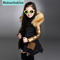 Toddler Girl Winter Coat Baby Girl Warm Coat Padded Child Thicken Fur collar Leisure Cotton padded parkas Coats