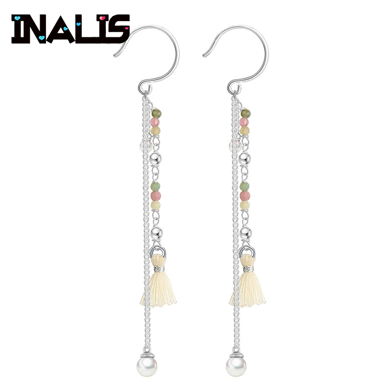 Unique Design Drop Earrings 925 Sterling Silver with Tourmaline Pearl Wo Pendant Ear Hook for Women Wedding Brincos