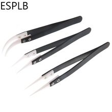 Ceramic Tweezers Electronic-Cigarette Stainless-Steel Anti-Static Industrial Curved-Tip