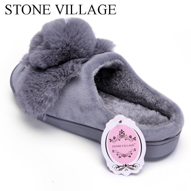 High Quality Women Slippers Lovely Rabbit Animal Prints Solid Flat Indoor Shoes Winter Plush Warm Home Slippers Size 36-43 4