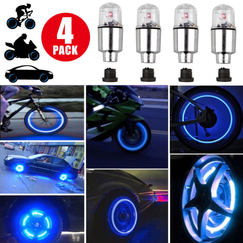 4pcs/lot Novelty LED Blue Colorful Bike Motorcycle  Wheel Tire Tyre Valve Cap Neon Flash Light Lamp Auto Tires Accessories