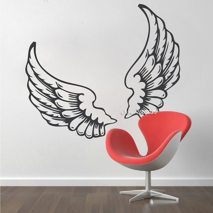 Angel Wing Wall Stickers PVC Wall Decor DIY Self-adhesive Wallpaper for Kids Rooms Living Room Decoration Wall Decals SA735