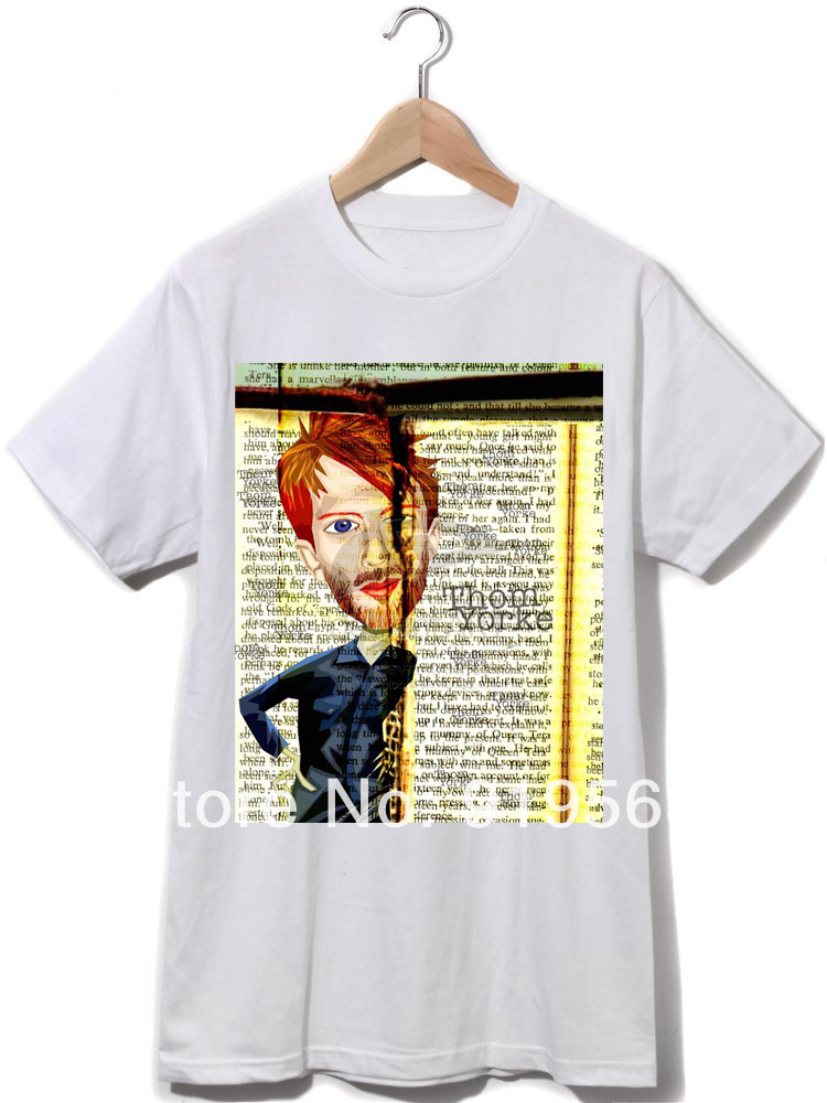 RADIOHEAD Thom York no surprises newspaper collage men women t shirt 100% cotton rock fashion