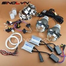 SINOLYN Car Styling Premium 3.0 inch Bi xenon HID Projector Lens Headlight Kit LED Angel Eyes 4300K 6000K H1 H4 H7 9005 H11 9006