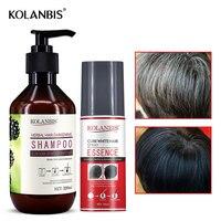organic black hair care product hair shampoo and cure white hair oil spray set for anti gray hair treatment no side effect
