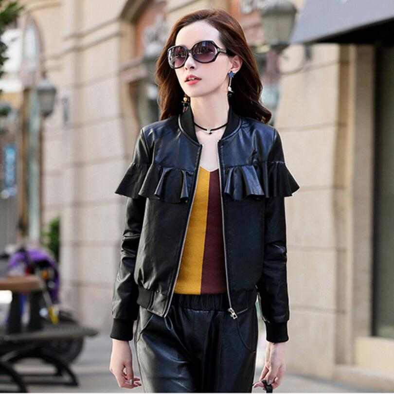 2018 Spring Autumn New Fashion Round Neck Slim Women Leather Jacket Black Casual Zipper Outerwear Hot Sale Lady Brand Clothing