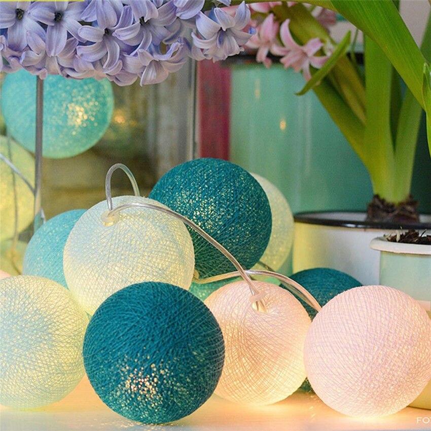 20 Baumwolle Led Bunte Ball Licht String Licht Fee Hochzeit Paties Urlaub Neue Jahr Decor Beleuchtung Trockenen Batterie L3