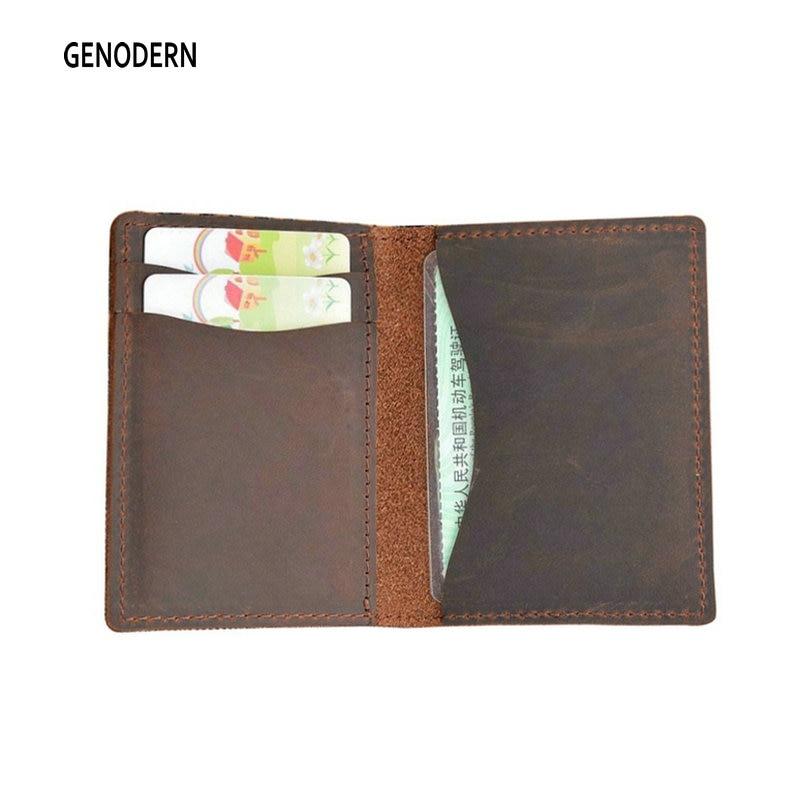 GENODERN Crazy Horse Leather Credit Card Holder For Men Unisex Card Purse Men & Women Card Case