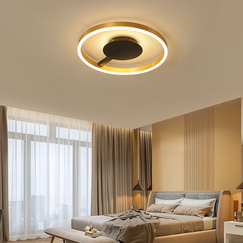 Bedroom Moderrn Led Chandelier Simple round romantic Brushed Gold and Black For Living Room Study Room Chandelier FixturesBedroom Moderrn Led Chandelier Simple round romantic Brushed Gold and Black For Living Room Study Room Chandelier Fixtures