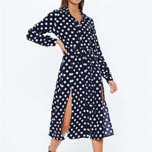 2019 Turn Down Collar Office Ladies Dots Shirt Dress Chiffon Beach Maxi Dress Casual Long Sleeve Elegant Party Dress Vestidos XL