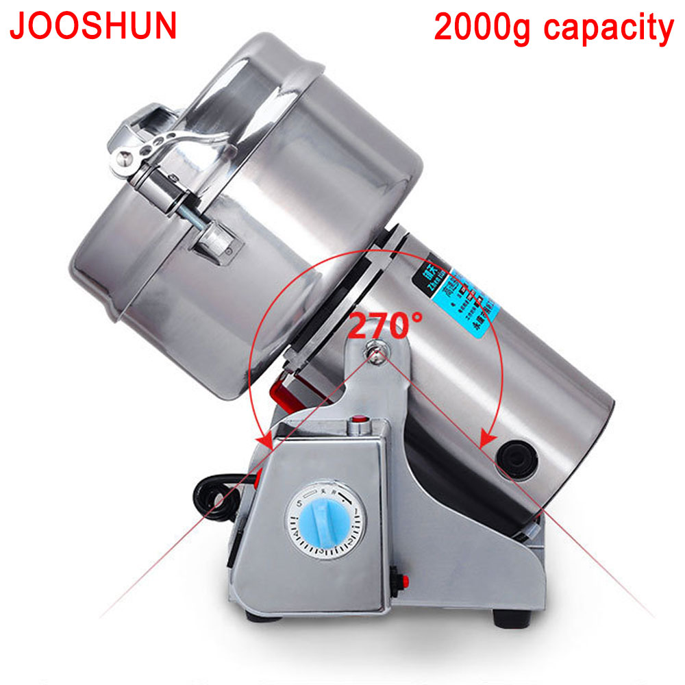 Home Electric Flour Mill Food Grade Powder Mill Machine Stainless steel Multifunction Food processor Grain crusher Powder miller 1000g food grade guar gum powder free shipping
