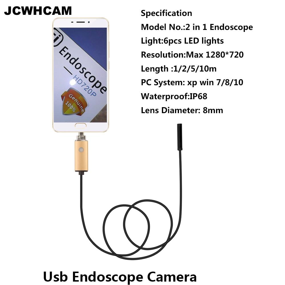 JCWHCAME ndoscope 8mm USB Endoscope Android 5M 10M PC USB Endoscopio Endoscope Camera 720P Inspection Waterproof Phone Camera