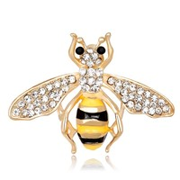 Panic Buying Fashion Lovely Yellow bees insect Rhinestones Brooch Pins retro Children Big Scarf Decorations Birthday Present