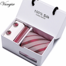 2.95inch(7.5Cm) Wide striped Classic Mens Neckties Wedding Fashion Party Man Tie, Handkerchief and Cufflinks Gift Box Packing