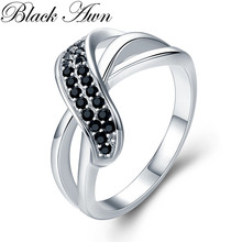 Classic 2.9g 925 Sterling Silver Fine Jewelry Engagement Black Spinel Engagement  Ring for Women G036