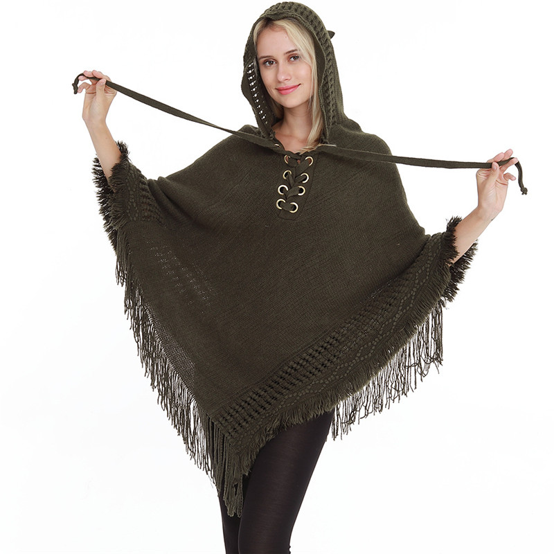 New Woman Fashion Poncho With Hat Rope Pullover Solid Color Lady Sweater Cotton Capes Home Plus Size Loose Hooded Woman Poncho