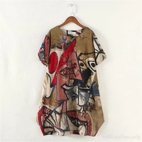 2016 New Arrival Impressionism Pattern Printing Plus Size Dress Retro Art Cotton Womans O Neck Summer