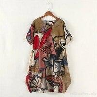 Phụ nữ Kích Thước Lớn Văn Phòng Casual Red Vintage Retro Bohemian Dress Robe Nga Big Kích Thước Vestidos Đối Với Thừa Cân Bãi Biển Shirt 4XL