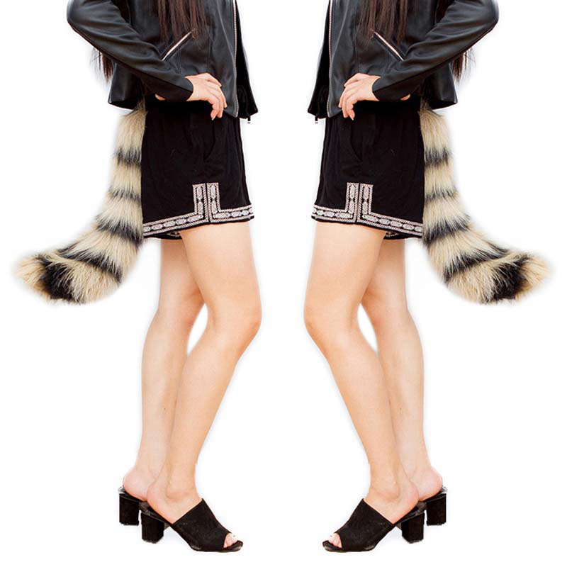 Fashion Novetly Realistic Faux Fur Fox Tail Adjustable Sexy Fluffy Fake Plush Tails Halloween Party Cosplay Costume H9