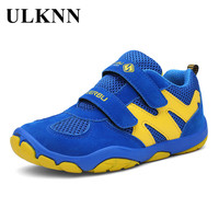 ULKNN Children Shoes For Boys Sneakers Running Kids Sport Shoes Net Mesh Leather Breathable TPR Lightweight Student School Shoes