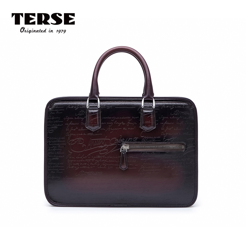 TERSE_Leather Handbag Mens Business Briefcase Handmade Italian Genuine Leather Tote Bag Vintage Custom Service Best Gifts 9472-1