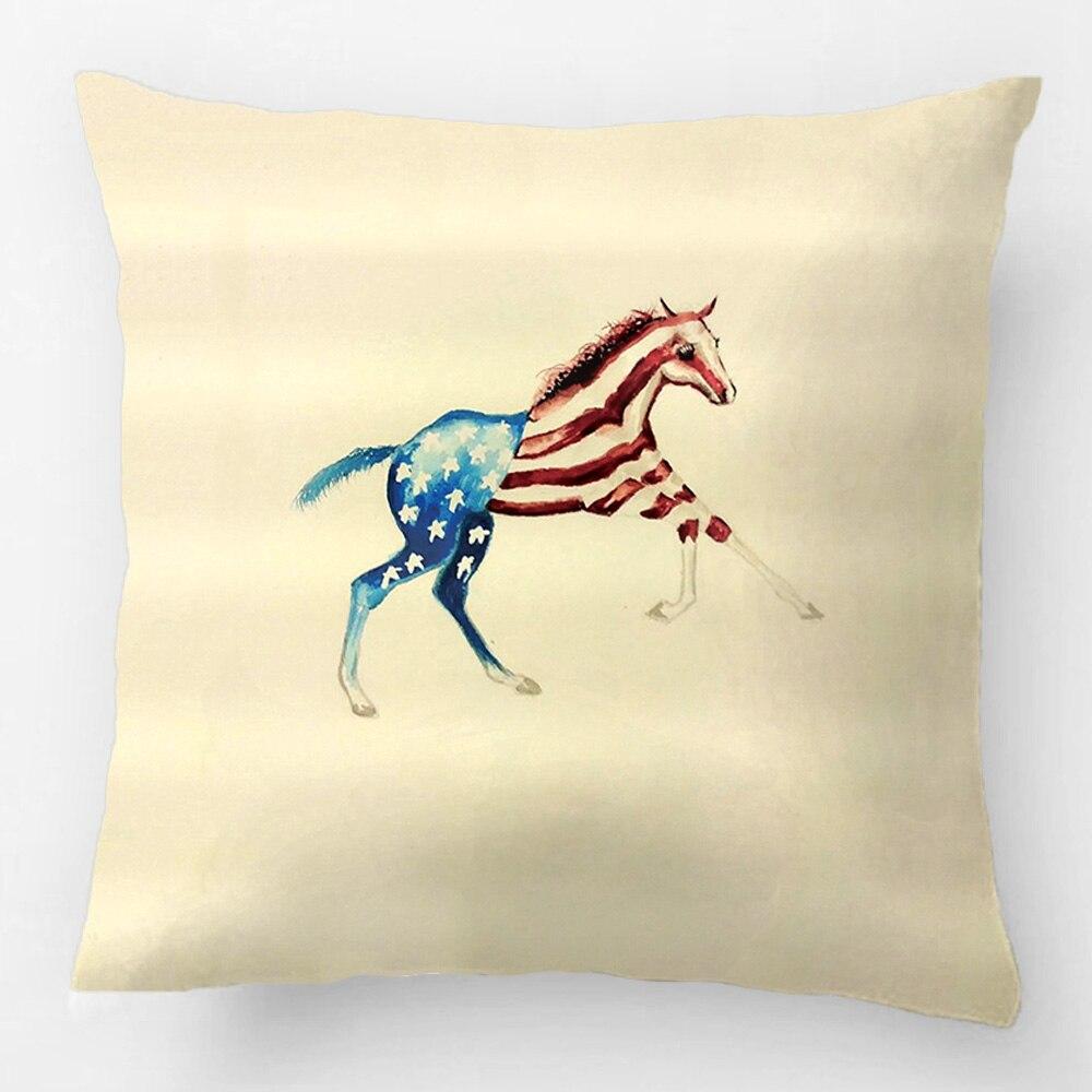 Taie D Oreiller A Personnaliser américain patriotique cheval pouliche rouge blanc bleu