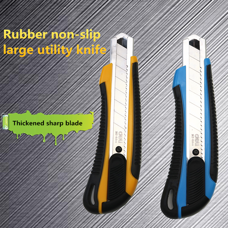 Deli 2064 Large Non-slip Utility Knife Thickened Sharp Blade Durable Office Paper Cutting Tool 1PCS Color Random