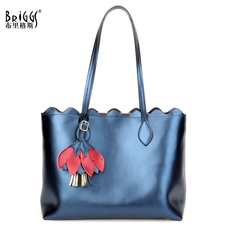 BRIGGS Brand New Fashion Women Handbag Genuine Leather Women Bag Soft Cow Leather Shoulder Bag Large Capacity Casual Tote 2018 new brand fashion genuine leather women handbag luxury design solid cow leather women shoulder bag casual ladies tote bag