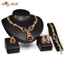 Jewelry Sets Necklace Earrings Bracelet Ring Set For Women Bridal Gold Color Imitation Crystal Party Wedding Accessories