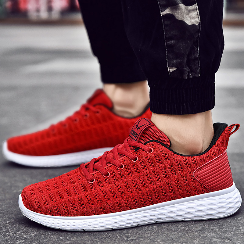 Men's Shoes Summer Wedges Red Sneakers Boys Large Size 45-48 Vulcanized Shoes Male Breathable Air Mesh Casual Shoes For Men