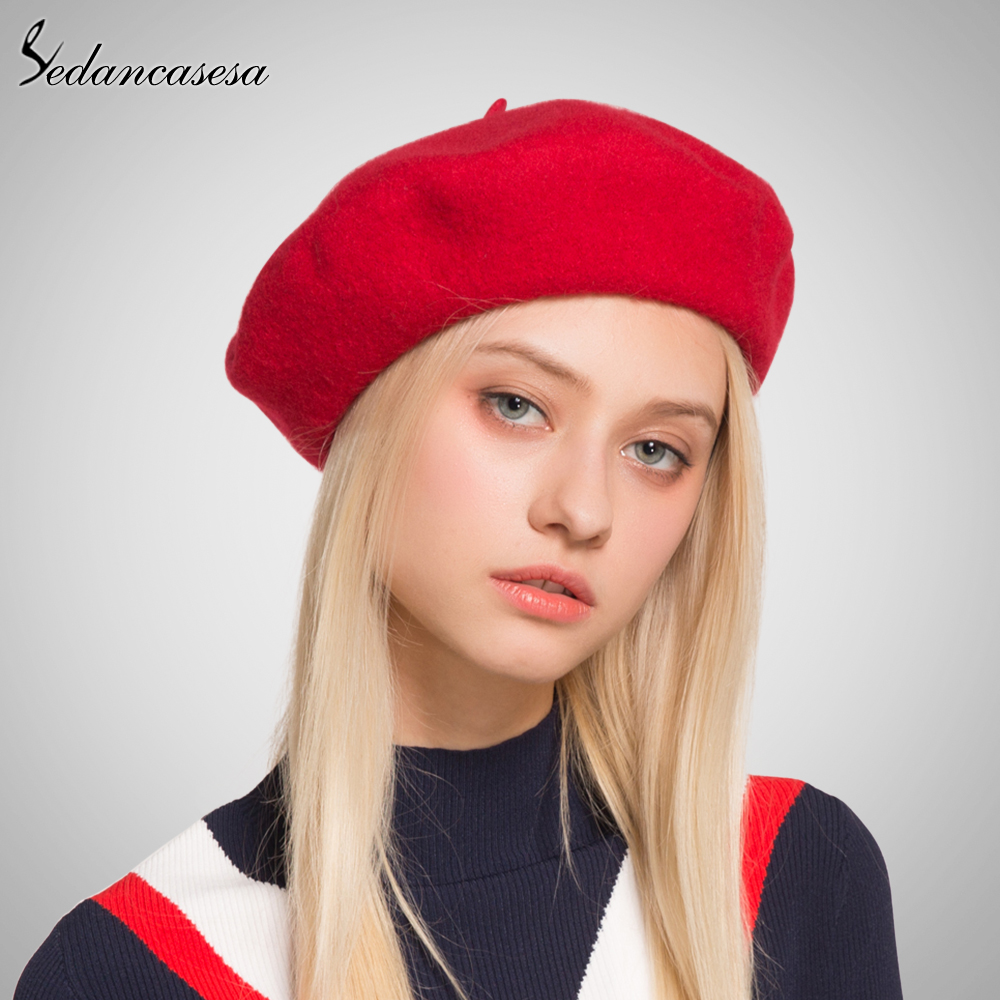 Sedancasesa Women Beret Hat Knitted Wool Beret Autumn Winter Warm Solid Colors 2017 Female Bonnet Hats