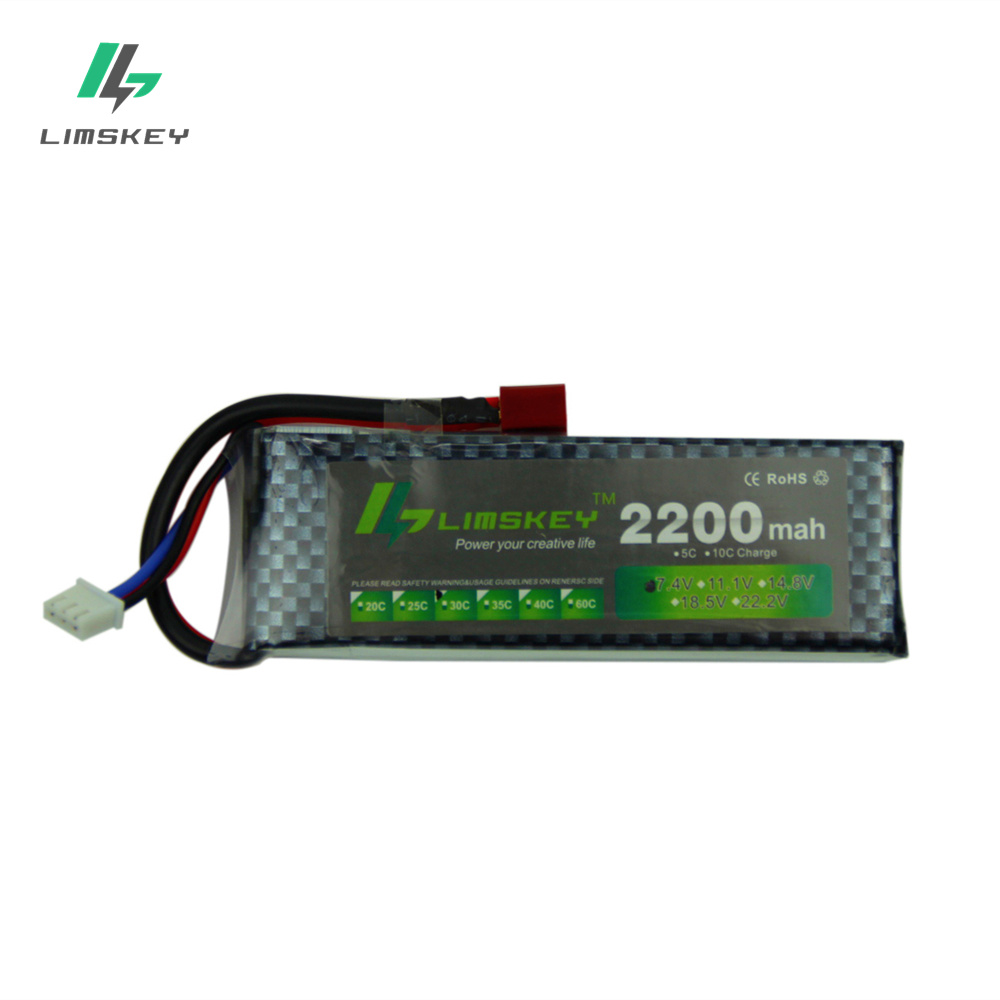 Limskey Power Battery 7.4V 2200mah 25C Max 40C JST T XT60 Plug For Qudcopter Halicopter Airplane WLtoys K494 Car Toy Battery 2s