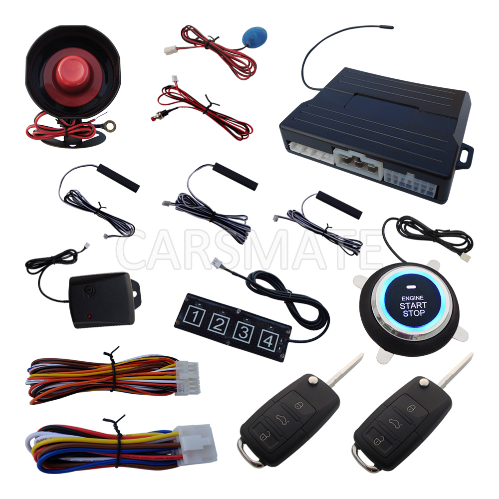 Rolling Code PKE Car Alarm System W HAA Flip Key Remote Control Push Start Remote Start Stop Engine Password Keyboard