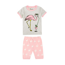 baby girl relaxed bird pajamas kids clothing boys excavator airpalne sleepwear unicorn rabbit ballet eiffel tower pyjamas pijama(China)
