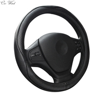 Car Wind 38 CM Genuine Cowhide Leather Auto Car Steering Wheel Cover Black For Lancer X