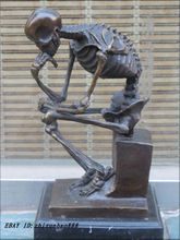 CHINESE Western Bronze Marble Art Statue Skull human SKELETON THINKER  Do old retro antique Retro bronze factory outlets
