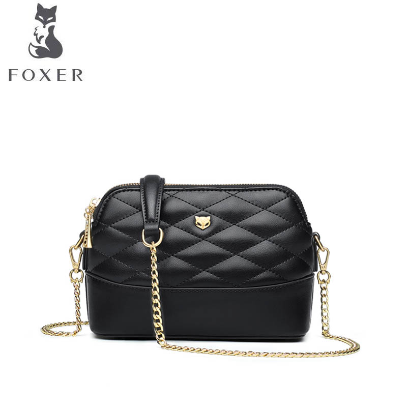 FOXER brand bags for women 2018 new women leather bag fashion chain small bag black designer women handbags leather shoulder bag foxer 2018 new women leather bag designer fashion women famous brand cowhide small tote bag women leather shoulder bags