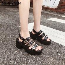 GBHHYNLH Thick heels Platform Punk Rock Gothic Sandals Women Peep Toe Buckle Chunky High Heels Sandals block heel sandal LJA773 rivet peep toe chunky heels
