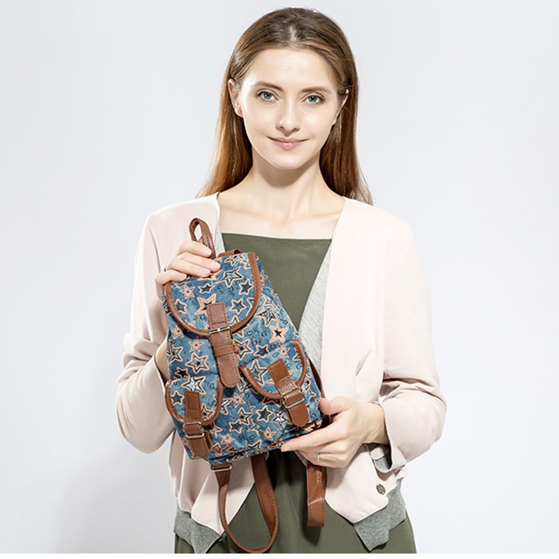 Miyahouse Star Printed Denim Unsex Backpack Small Drawstring Design Jeans Backpack For Children Cute School Backpack Travel Bag