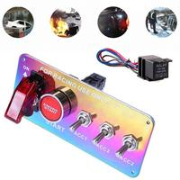 DC 12V LED Ignition Switch Panel Push Button Toggle Durable Universal Power Off Switch Racing Car Auto