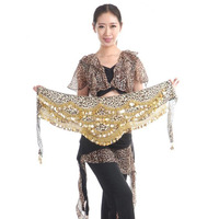 2015 New Arrivals Cheap Women Belly Dance Hip Scarf Leopard Print Gold Coins Velvet Belts For