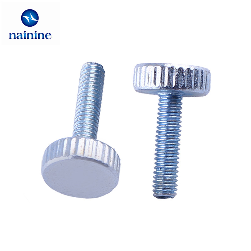 10Pcs DIN653 GB835 M3 M4 M5 Knurling Flat Head Knurled Thumb Screw Hand Tighten Computer Screws HW107