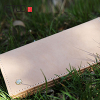 AETOO Retro simple leather tannage handmade leather men and women wallet leather temperament long section of Vintage wallet