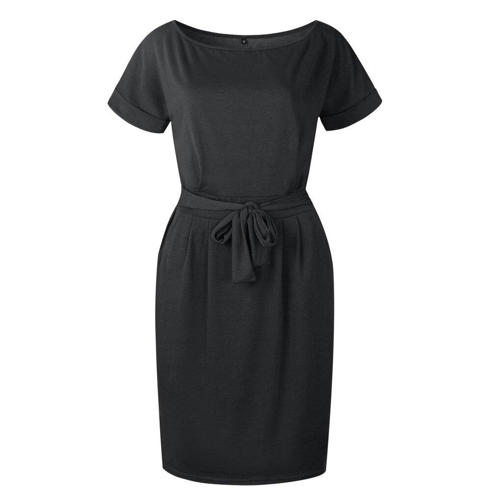 19 New Summer Fashion Women Casual Short Sleeve O-Neck Straight Black Gray Blue Dress Loose Plus Size Pocket Cotton Midi Dress 11