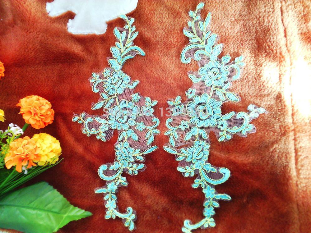 Wholesale big promotion Light Blue high quality lace applique 27*11cm for dress veil Manual accessories DIY 2pair/bag